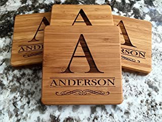 Personalized Wedding Gifts and Bridal Shower Gifts - Monogram Wood Coasters for Drinks (Set of 4, Anderson Design)