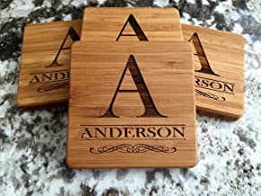 Personalized Wedding Gifts and Bridal Shower Gifts - Monogram Wood Coasters for Drinks (Set of 6, Anderson Design)