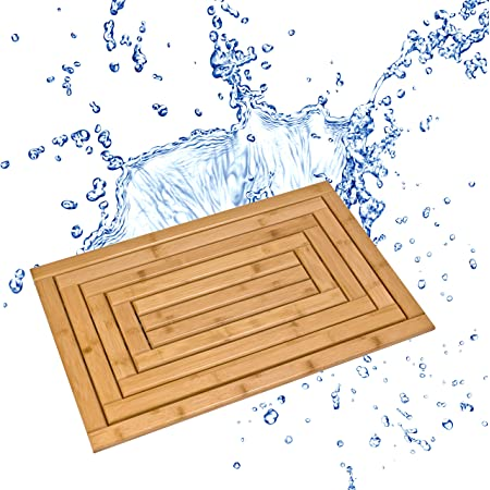 Bare Decor Oskar Shower Mat Rug X Large Solid Teak Wood Oiled Finish Home Kitchen