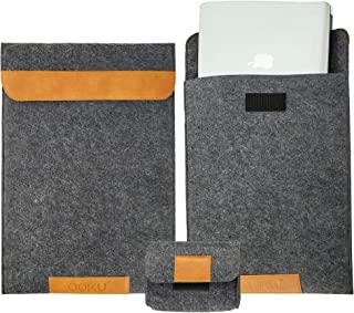 OOKU 14-15.6 Inch Wool Felt Laptop Sleeve w/Leather Accents w/Mouse Accessory Case | Compatible for MacBook Pro 2015-2018 Dell XPS 15 HP Envy X360 Pavilion 15