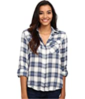 Sam Edelman - Riley Plaid Split Back Blouse with Zipper Detail