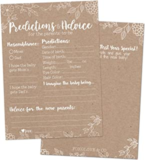 Foxglove & Co. 50 Rustic Baby Shower Prediction Advice Cards - Baby Shower Games Gender Neutral, Girls Boys Party - Advice Cards Baby Shower, Best Wishes Parents, Mom & Dad, Mommy & Daddy