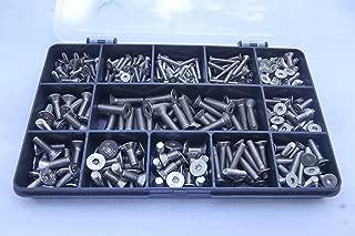 Kit de tornillos y pernos para máquina con casquillo avellanado de 270 piezas. M3, M4 y M5. Acero inoxidable A2-70.