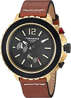 Vestal 'Yacht' Quartz Stainless Steel and Leather Watch, Color Brown (Model: YAT44C06.LBWH)