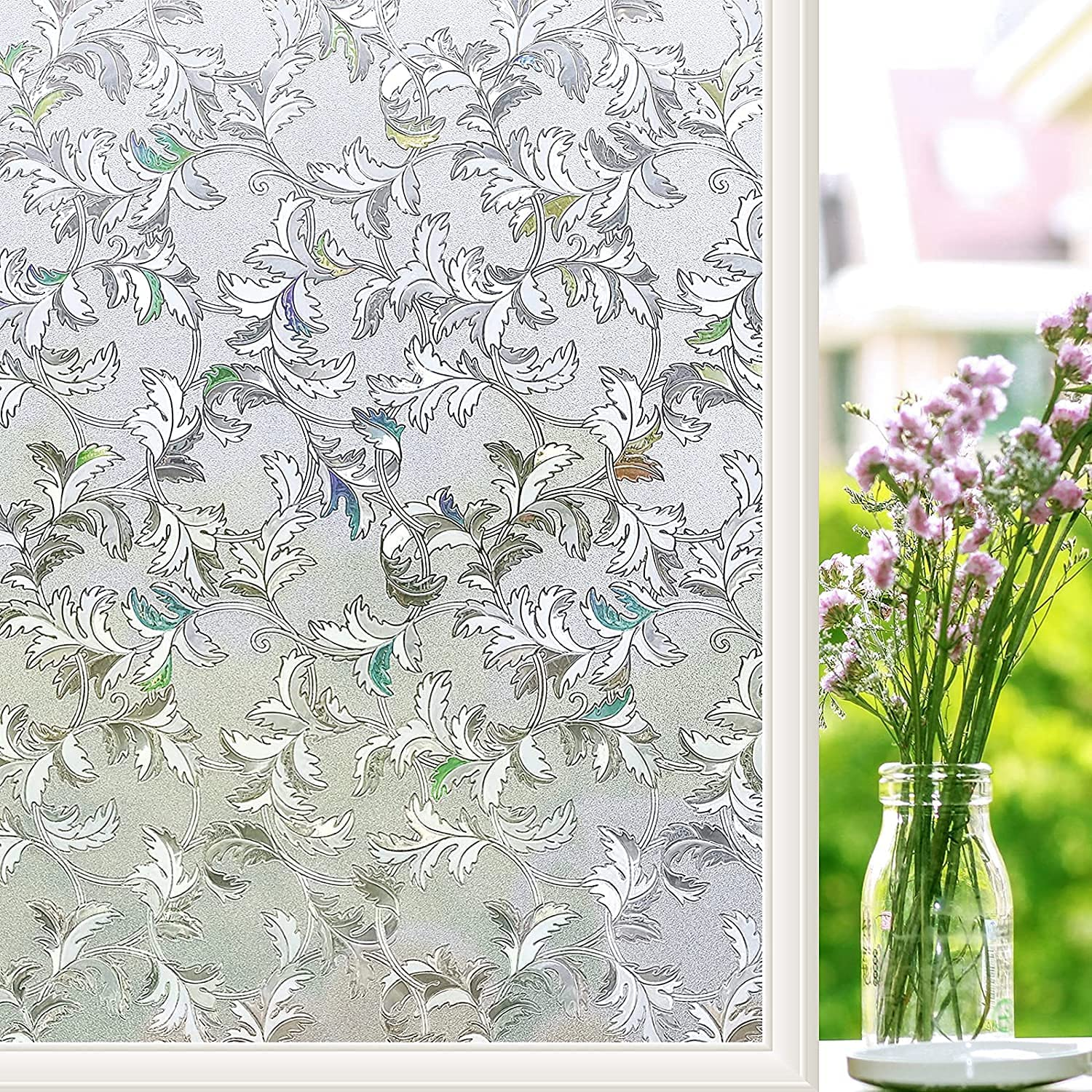 QZSW 3D Non-Adhesive Window Film Gla Our shop OFFers NEW the best service Privacy self-Adhesive Vine