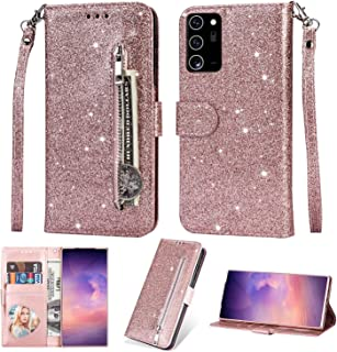 EnjoyCase Wallet Case for Galaxy S20 FE,Zipper Card Pockets Design Bright Sparkle Glitter Wrist Strap Bookstyle Magnetic C...