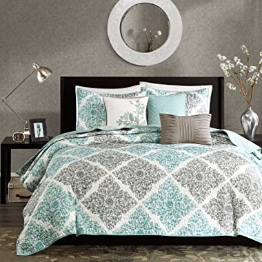 Madison Park Claire Leaf Geometric – 6 Piece Ultra Soft Microfiber Bed Quilted Coverlet, King/Cal King(104 x94 ), Diamond Aqua