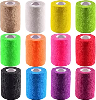 Pangda 12 Pieces Adhesive Bandage Wrap Stretch Self-Adherent Tape for Sports Wrist Ankle 5 Yards Each (3 Inch 12 Colors)
