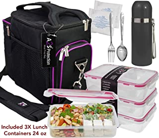 Complete Meal Prep Lunch Box - 8 Pcs Set: Cooler Bag 3x Portion Control Bento Lunch Containers Leakproof 3 Compartments Microwavable BPA Free - Fork & Spoon - Thermos - 2x Ice Gel (Black / Purple2)