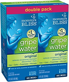 Mommy's Bliss Double Pack Gripe Water for Babies 2 Weeks & Up, Relieves Stomach Discomfort from Gas, Colic, Fussiness & Hi...