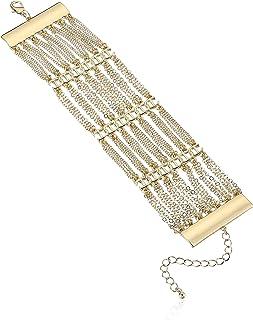 Steve Madden Rhinestone Curb Chain Wide Bracelet for Women