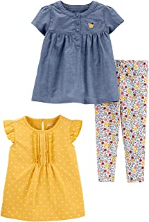 Girls' Toddler 3-Piece Playwear Set, Chambray/Polka Dots, 2T