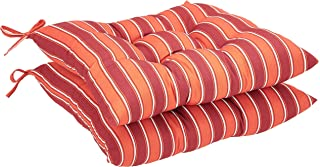 AmazonBasics Tufted Outdoor Square Seat Patio Cushion - Pack of 2, Red Stripe