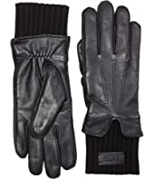 Leather Gloves with Knit Cuff and Tech Palm