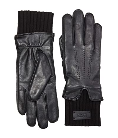 UGG Leather Gloves with Knit Cuff and Tech Palm (Black) Extreme Cold Weather Gloves