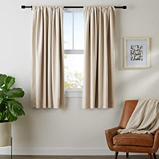 AmazonBasics Room Blackout Window Panel Curtains - Pack of 2, 52 x 63 Inch, Beige