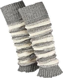 Piarini 1 Paar geringelte Stulpen Damen - warme Bein-Stulpen in Strick - Wolle in Grau-Weiß Schwarz-Weiß One-Size