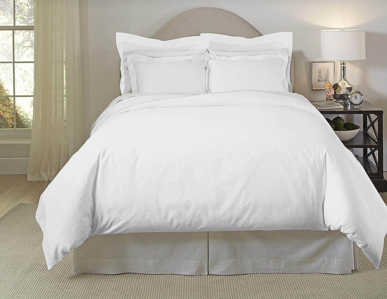 Pointehaven 620TC Long Staple Cotton Oversized Duvet Set, Full Queen, White