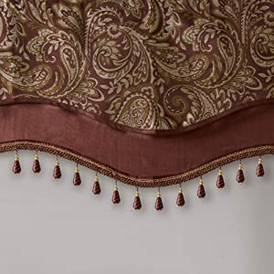 Madison Park Aubrey Faux Silk Paisley Jacquard, Rod Pocket Curtain with Privacy Lining for Living Room, Kitchen, Bedroom and Dorm, 50x18, Burgundy