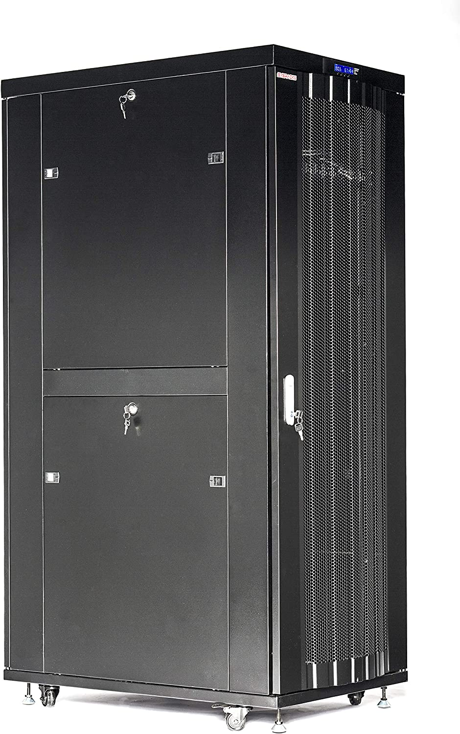 Sysracks 32U Server Rack Network Enclosure Data Cabinet 39 inch Deep Vented Doors Full Size Server Rack - LCD Screen- 4 Cooling Fans - 8-Way Power Strip - Shelf - Casters - Dust Tight Cable Entries