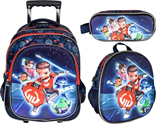 3D SCHOOL TROLLEY BAG WITH BACKPACK FOR KIDS BOY INCLUDE LUNCH BAG AND PENCIL POUCH (15 INCH)