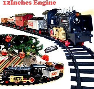JOYIN Holiday Electric Premium Train Set (Big Train, 12' Engine) with Lights, Sounds and Remote Control 5 Train Cars and T...