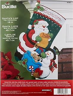 Bucilla 18-Inch Christmas Stocking Felt Applique Kit, Santa's List