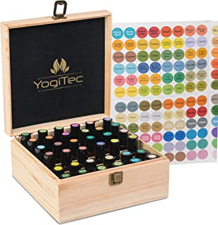 YogiTec Essential Oil Storage Box - 36 Slots Wooden Organizer Carrying Case for Aromatherapy Oils Bottle or Roller Bottles with Black Velvet Foam padding and Free 192 Labels