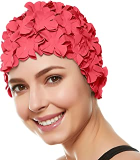 Floral Petal Swim Cap for Women – Retro Style Vintage Bathing Cap Swimming Hat for Long and Short Hair - Coral Pink
