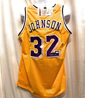 Magic Johnson Los Angeles Lakers Signed Autograph Yellow Custom Jersey JSA  Witnessed Certified 0641e6f1e