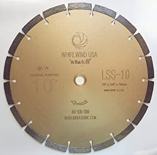 Whirlwind USA LSS 10-Inch Dry or Wet Cutting General Purpose Power Saw Segmented Diamond Blades for Concrete Stone Brick Masonry (Factory Direct Sale) (10