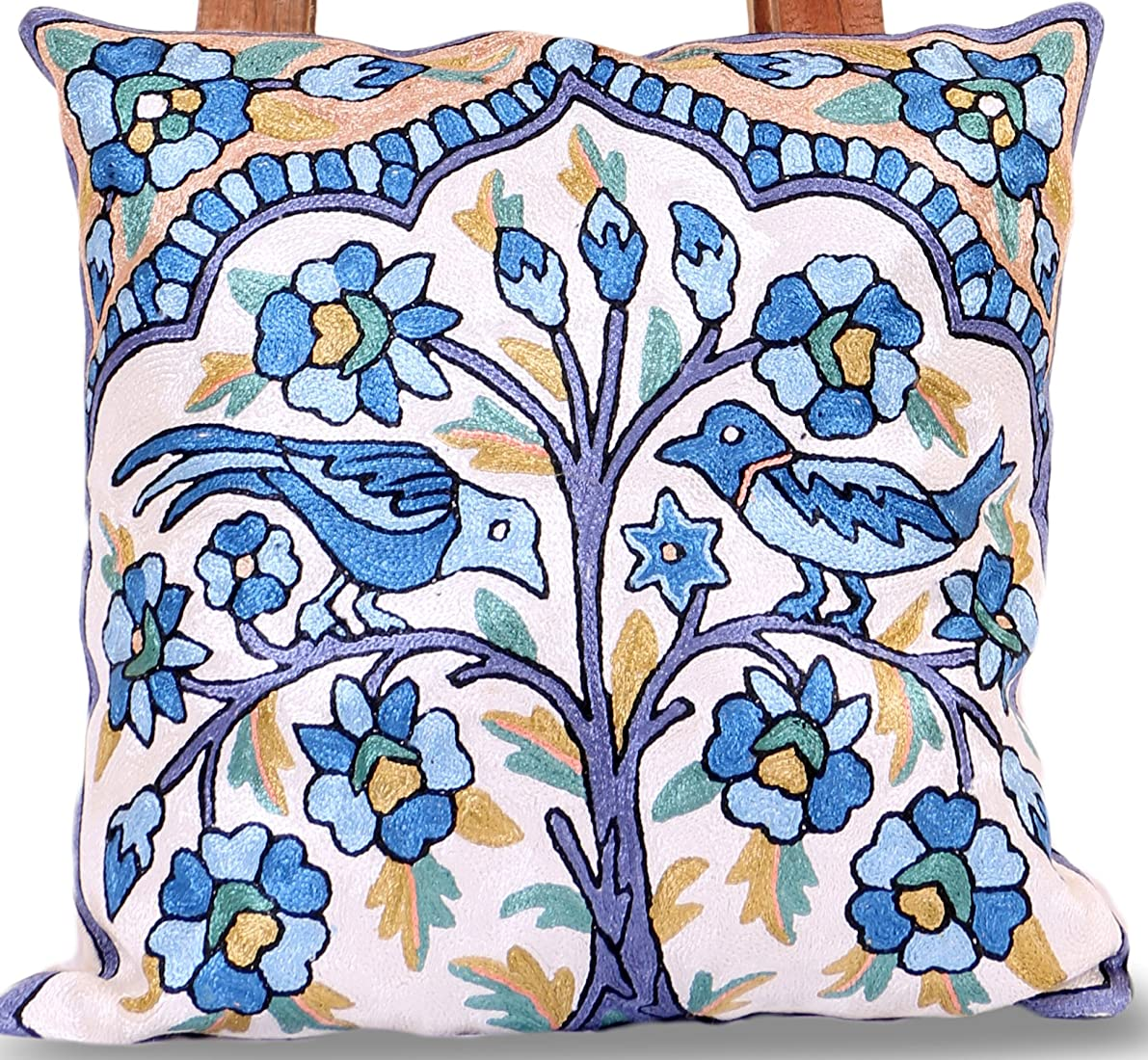 Hand Embroidered Square shaped SILK cushion covers (16