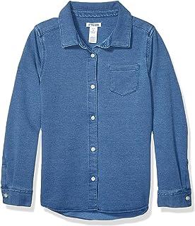 Marca Amazon - Spotted Zebra Knit Denim Shirt Niñas