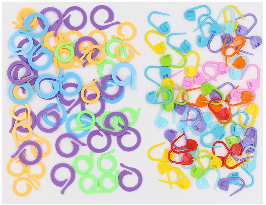 Crochet Stitch Markers - 120PCS Locking Stitch Markers Knitting Stitch Counter Multi-Colored Crochet Stitch Needle Clip, 60 Locking Stich Markers & 60 Split Stitch Ring Markers (120PCS, Mixed)