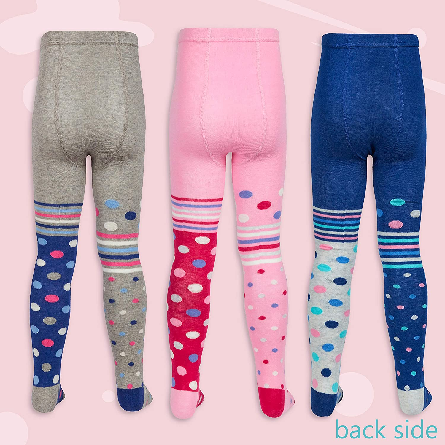 3 Pairs Kids Girls Asymmetrical Designer Cotton Rich Tights 2 up to 8 Years