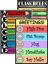 Greetings, Welcome, and Class Rules Posters for Classroom Decorations- Laminated, Size 14x19.5 in.- Back To School Supplies, Classroom Posters, Teacher Supplies for Preschool, Kindergarten (Greetings)