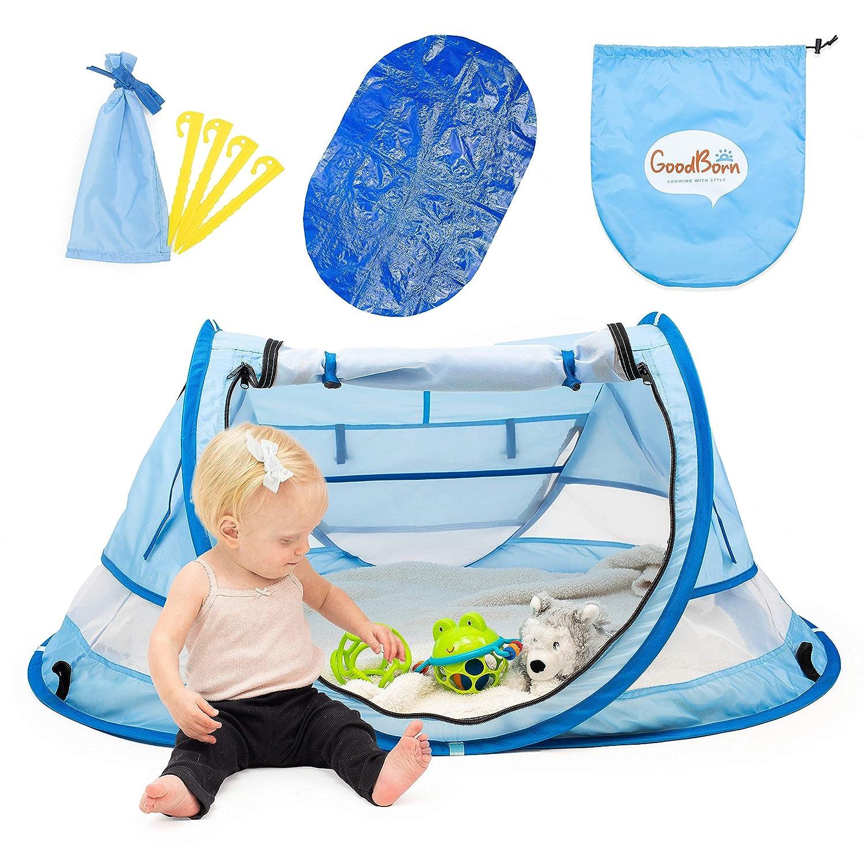 GoodBorn Baby Beach Tent, UV50+ EzyFold Popup Tent. Cabana Baby Tent, Beach Canopy and Beach Shade Tent, Backyard Sun Shelter, Toddler Camping, Infant Portable Sun Shade. Summer Beach Baby Essentials