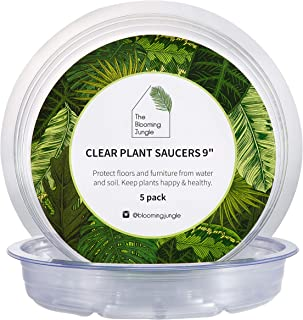 The Blooming Jungle - Plant Saucer - 5 Pack of 9 Inch - Heavy Duty Deep Plastic Drip Tray - Clear Round Base for Under Houseplant Containers - Protect Floors from Water and Soil