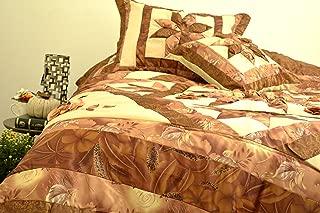 Tache Home Fashion Elegant Floral Patchwork Cottage Quilted Comforter Bedspread Sets (Bronze Stars, Twin)