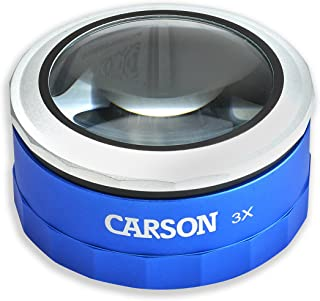 Carson MagniTouch 3x Touch Activated LED Lighted Stand Loupe Magnifier with Focusable Glass Lens For Reading, Low Vision, ...