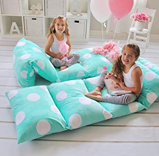 Butterfly Craze Pillow Bed Floor Lounger Cover - Perfect for Pillow Recliners & Kid Beds for Reading Playing Games or at a Sleepover or Slumber Party - Aqua Polka Dot, Queen
