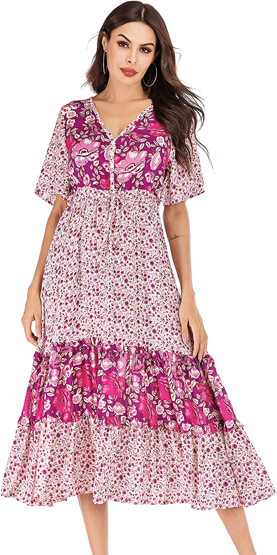 R.Vivimos Women's Short Sleeve V Neck Cotton Beach Floral Buttons Maxi Dresses
