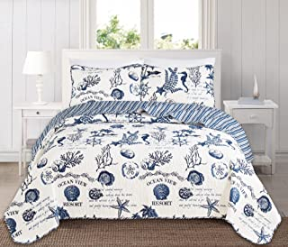 Great Bay Home 3 Piece Quilt Set with Shams. Soft All-Season Microfiber Bedspread Featuring Attractive Seascape Images. Machine Washable. The Catalina Collection Brand. (Full/Queen, Navy)