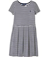 Polo Ralph Lauren Kids - Striped Pleated Ponte Dress (Little Kids/Big Kids)