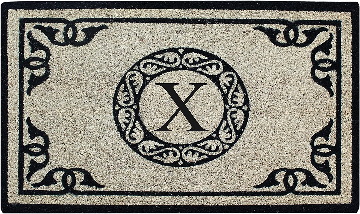 A1 Home Collections PT3006-1-X First Impression Hand Crafted by Artisans Bleach Printed Monogrammed Doormat, 24 X36