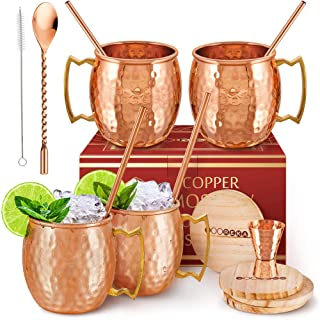 [Gift Set] Moscow Mule Mugs Set Of 4 16 oz Pure Solid Genuine , HANDCRAFTED , Copper Cups , BONUS , Straws, Wood Coasters ...