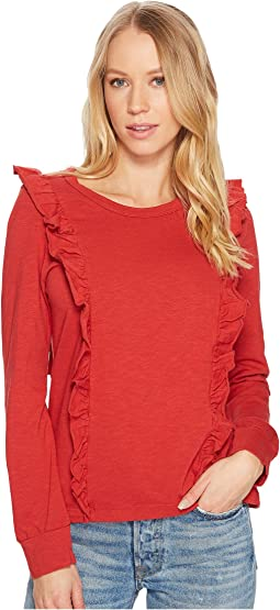 Splendid - Heavy Cotton Slub Long Sleeve Ruffle Tee