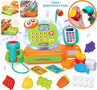 JOYIN Smart Cash Register Pretend Play Cashier with Scanner, Microphone, Play Money and..