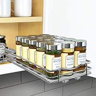 Lynk Professional 430621DS Slide Out Spice Rack Upper Cabinet Organizer-6-inch, 6
