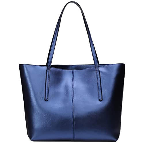 Blue Leather Tote:
